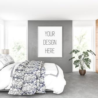 Frame mockup, slaapkamer met verticaal frame, scandinavisch interieur