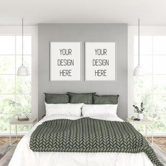 Frame mockup, slaapkamer met witte dubbele frames, scandinavisch interieur