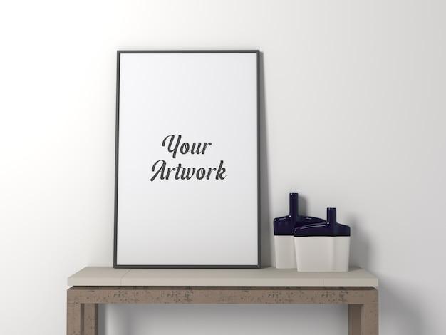 Frame mockup su un tavolo