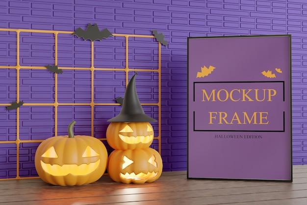 Frame mockup voor halloween-editie op de tafel