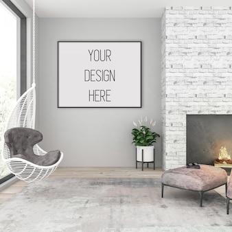 Frame mockup, woonkamer met zwart horizontaal frame, scandinavisch interieur