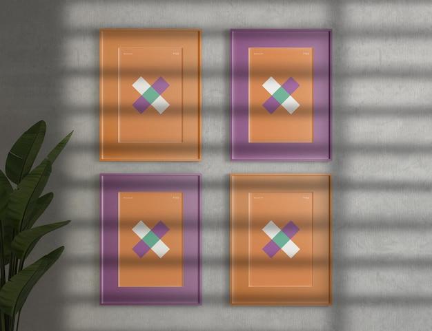 Frame mockups op cementmuur