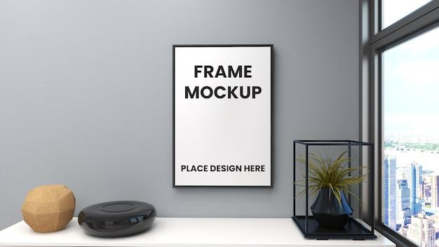 Frame poster mockup aan de muur met minimalistisch interieur