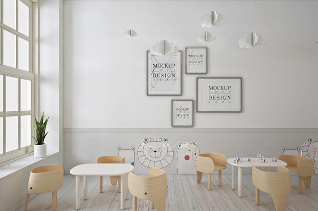 Frame poster mockup in moderne eigentijdse kleuterschool