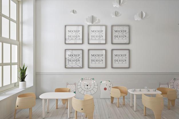 Frame poster mockup in moderne schattige kleuterschool