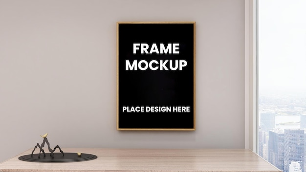 Frame poster mockup op de muur met zwart frame