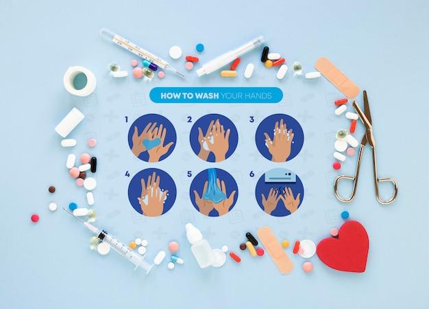 Frame van medicijnen op tafel