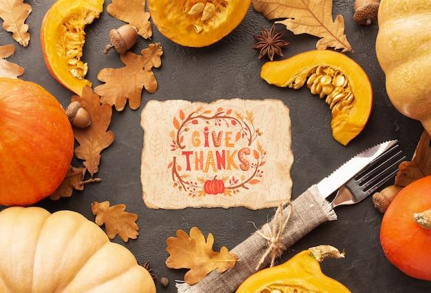 Frame van pompoenen op thanksgiving day