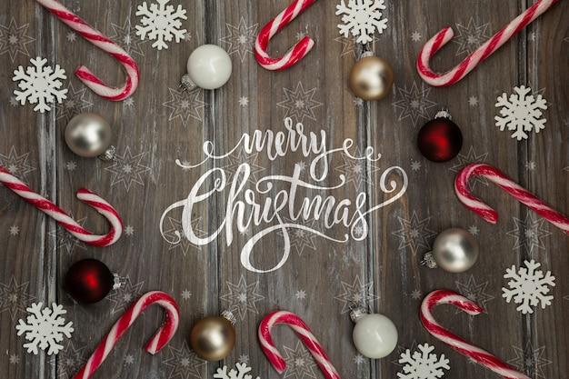 Frame van snoepgoed met kerstmisbericht