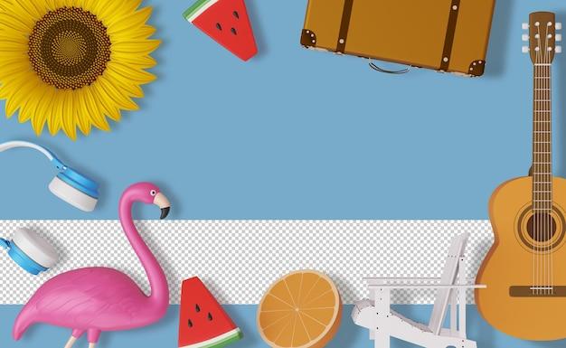Frame zomeraccessoire, zomerseizoen, 3d-rendering