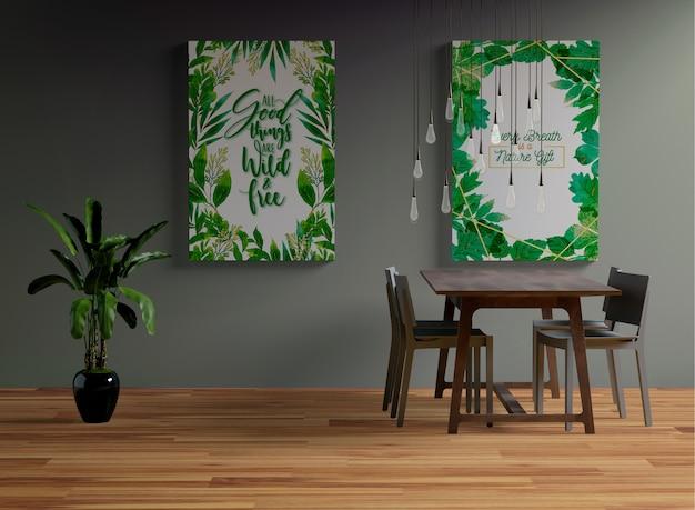 Frames mock-up opknoping aan de muur in de eetkamer