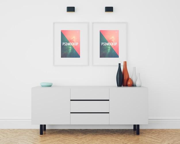 Frames op een witte kist lade op