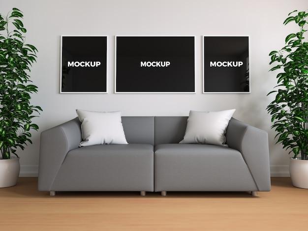 Frames op muur mock up