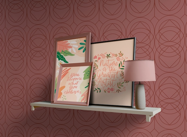 Frames schilderen met lege ruimte op plank