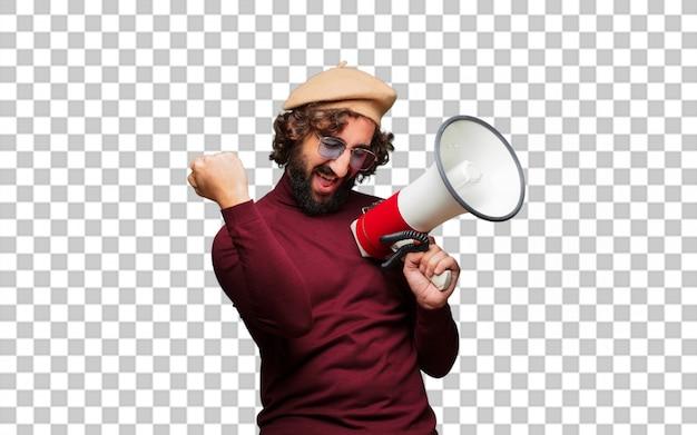 Franse kunstenaar met een baret en een megafoon