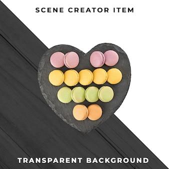Franse macarons op hartvorm plaat geïsoleerd met uitknippad.