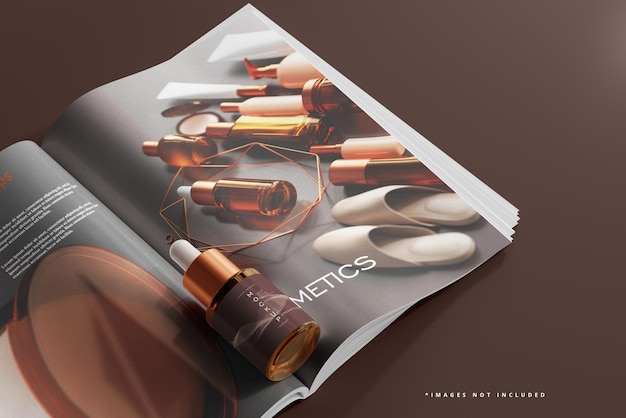 Frasco gotero de vidrio ámbar y maqueta de revista