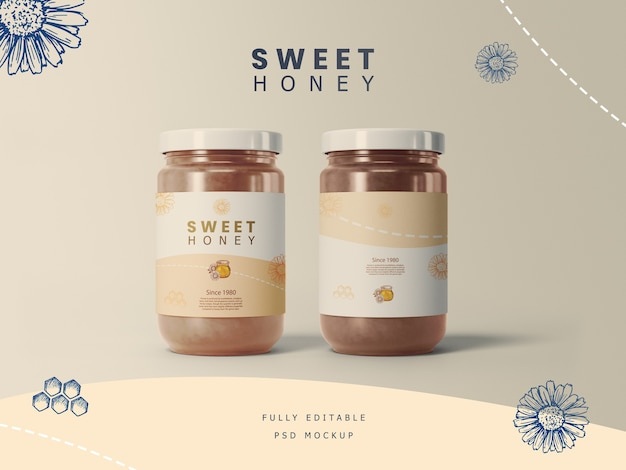 Frascos de miel con maqueta de etiqueta