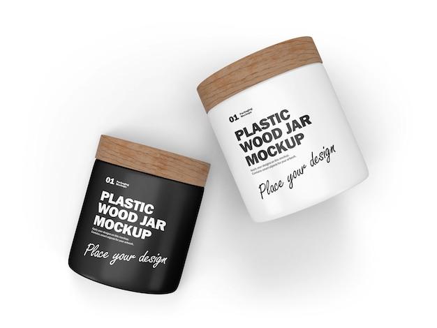 Frascos de plástico 3d con tapas de madera producto cosmético maqueta psd