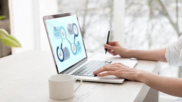 Freelancer die op laptop met mock-up werkt