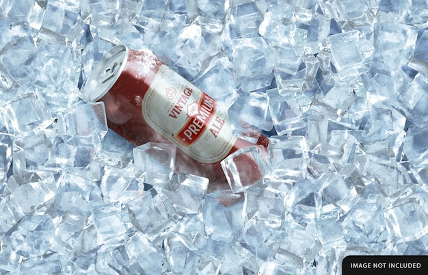Freeze drink can mockup in ice