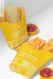French fries box mockup, dropped