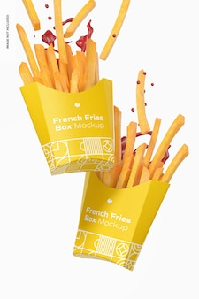 French fries box mockup, falling