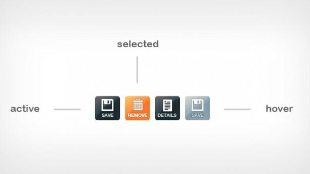 Fresco botones de icono activo, seleccionado y el estado estacionario