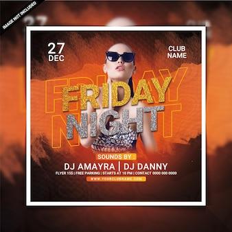 Friday night club party flyer of social media post