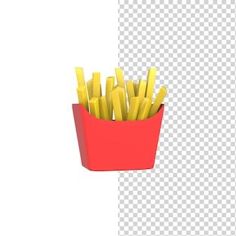 Frieten in rode kartonnen verpakking fastfood 3d render-ontwerp