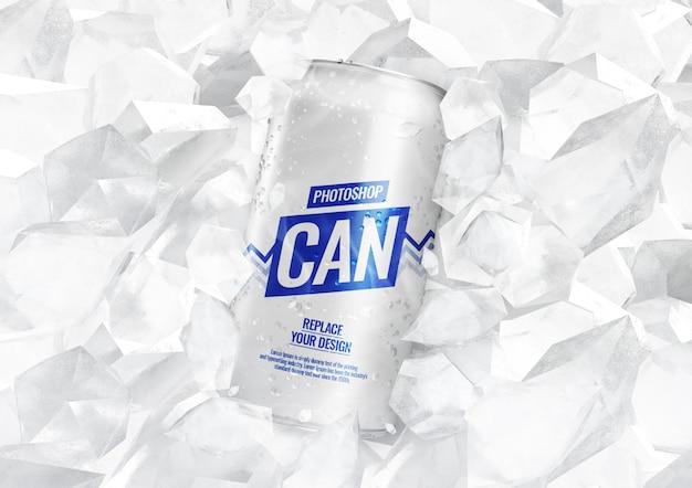 Frisdrank kan mockup met ijsblokjes