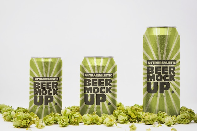 Front beer can trio mockup