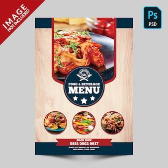 Front food menu per alimenti e bevande