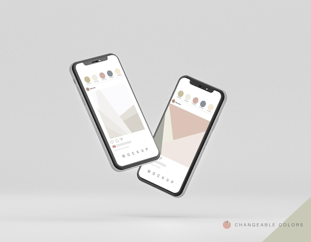 Frontale minimale 3d-telefoons mockup zwevend