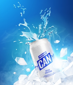 Frozen splash kan mockup