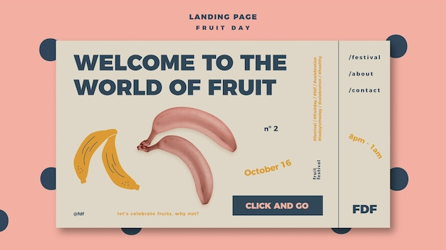 Fruit dag bestemmingspagina sjabloon