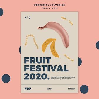 Fruit dag flyer sjabloon met geïllustreerde vruchten