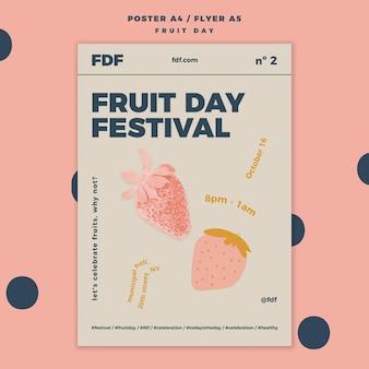 Fruit dag flyer sjabloon met illustraties