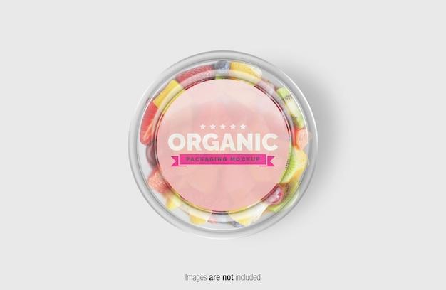Fruitsalade box mockup met sticker