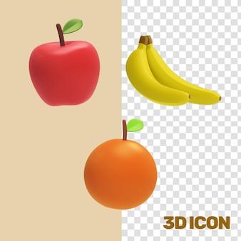 Frutas comestibles iconos 3d