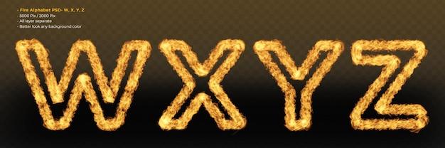Fuego alfabeto letra mayúscula efectos de texto