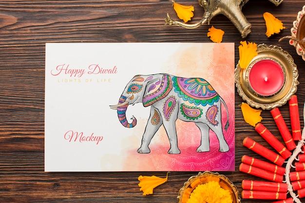 Fuegos artificiales de maqueta de festival de diwali feliz endecha plana