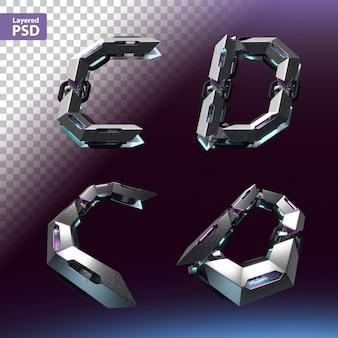 Fuente 3d en estilo cyberpunk. letras c, d.