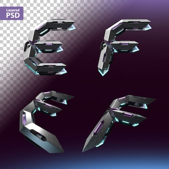 Fuente 3d en estilo cyberpunk. letras e, f.