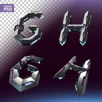 Fuente 3d en estilo cyberpunk. letras g, h.