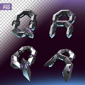 Fuente 3d en estilo cyberpunk. letras q, r.