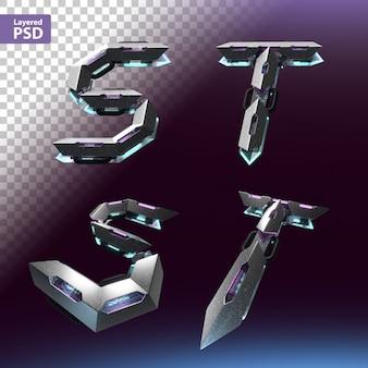 Fuente 3d en estilo cyberpunk. letras s, t.