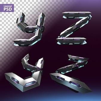 Fuente 3d en estilo cyberpunk. letras y, z.