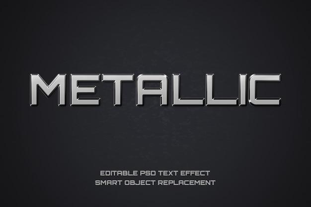 Fuente editable metálica. biselado tipografía cromada. letras de estilo metal.
