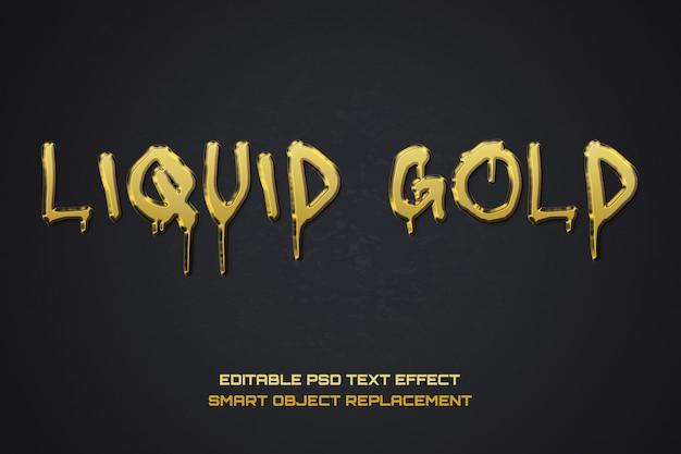 Fuente psd editable de oro líquido.